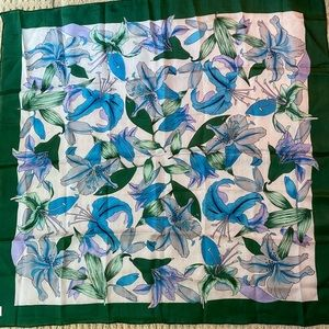 "Vintage pure silk scarf green blue floral 33"" sq"